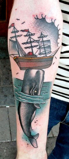 old school tattoo / traditional nautical ink - whale