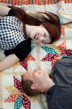 Seeing a lot of these quilt engagement shots- combining two of my favorite things!