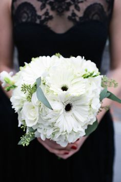 White Gerber Daisy Wedding Bouquet