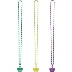Mardi Gras Beads With Crown Pendant - 3 Ct