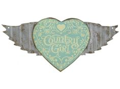 Country Girl Fluted Die-Cut Tin Sign