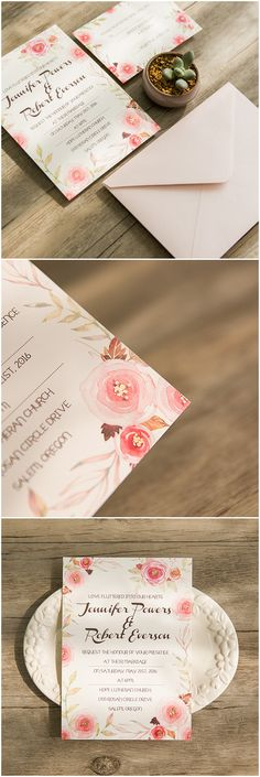 chic romantic pink floral with gold foiled wedding invitations