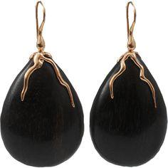 LUCIFER VIR HONESTUS Dark Amaranth Wood Drop Earrings (30,860 MXN) ❤ liked on Polyvore featuring jewelry, earrings, accessories, brincos, bijoux, rosegold, 18 karat gold earrings, lucifer vir honestus, 18 karat gold jewelry and 18k earrings