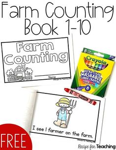FREE Farm Counting Book 1-10!  Count different things on the farm from 1 to 10. Perfect for independent reading with preschool or kindergarten.