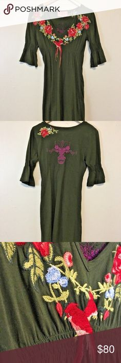 """JWLA Johnny Was Embroidered Dress Brand: JWLA Johnny Was Size: Large Color: Sage Green Description: Great floral, embroidered dress with bird adornment  Approximate Measurements:   Armpit to Armpit: 17"""" Full Length: 36"""" Sleeve Length: 14.5"""" Johnny Was Dresses Long Sleeve"""