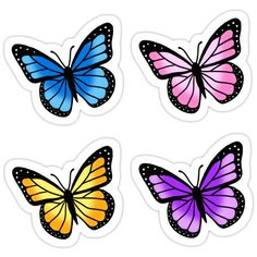 Butterfly Discover Colorful Butterfly Sticker Pack Sticker by littlemandyart Colorful Butterfly Drawing, Butterfly Painting Easy, Butterfly Canvas, Simple Butterfly, Butterfly Wallpaper, Easy Canvas Painting, Printable Stickers, Cute Stickers, Decoration Stickers