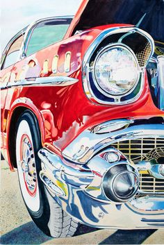 """Items similar to Limited Edition Giclee Print of Watercolor Painting, """"Fifties Fender II"""" on Etsy - Car painting - Watercolour Tutorials, Watercolor Techniques, Art Techniques, Car Drawings, Ap Art, Automotive Art, Automotive Solutions, Car Painting, Pictures To Paint"""