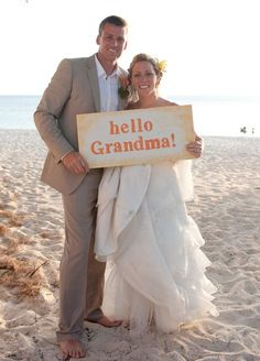 Make a sign for relatives that couldn't make it to the wedding
