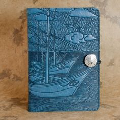 Van gogh boat Moleskine Leather Journal with Pewter Clasp by Oberon design.