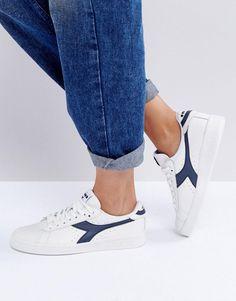 DIADORA GAME LOW SNEAKERS IN WHITE AND BLUE - WHITE. #diadora #shoes #