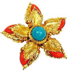 William de Lillo - Broche 'Fleur' - Métal Doré et Cabochons Façon Corail et Turquoise - 1969