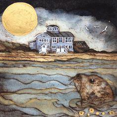 'Making For Shore' by Printmaker Mandy Walden. Blank Art Cards By Green Pebble. www.greenpebble.co.uk