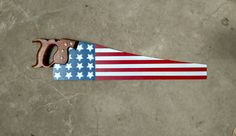 American Flag Hand Painted Saw, Vintage Hand Saw