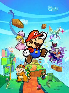 Poster of #Mario, #PrincessPeach, #Luigi, and #Bowser from Super #PaperMario.