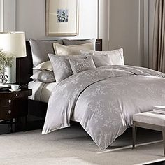 Barbara Barry Florette King Duvet Cover - Silver Gray