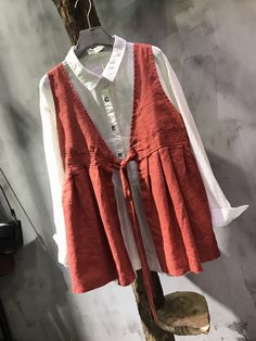 Beautiful Bowknot Loose Linen Waistcoat Autumn Womans Short Top    #loose #linen #autumn #woman #short #waistcoat #outerwear #amazing