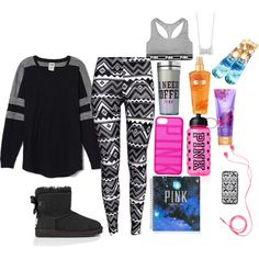 CHILLIN by fasionista-1154 on Polyvore featuring polyvore fashion style Victoria's Secret PINK H&M claire's Victoria's Secret UGG Australia