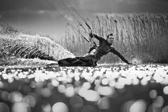 Great lighting and point of view of kiteboarder!