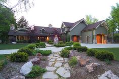 home exteriors - green, stone walk way, shrubs, Great home. Stone walkway path and home exterior. Exterior Front Doors, Exterior House Colors, Stone Walkway, Stone Path, Alice Lane Home, My Ideal Home, Young House Love, Design Your Home, Cottage Homes