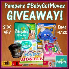 Enter to #win an amazing Pampers Prize Pack with diapers, toys, and more in the #BabyGotMoves #Giveaway! $100 ARV! Ends September 20 (11:59pm).