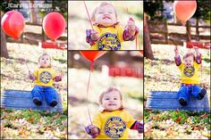1 year old boy smiling and laughing with red balloons