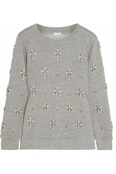 J.Crew | Crystal-embellished cotton sweatshirt // I love this and if on a tight budget would be really easy to recreate with a sweatshirt and embellishments.