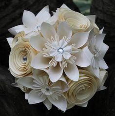 Origami Bridal Bouquet- Alternative Wedding Flowers - Paper Flower Wedding Bouquet