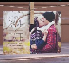 """Save the date idea!    Maybe we could put something on there about """"tying the knot"""" and we could tie our scarves together."""