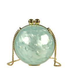 Al Ostoura   Marzook Small Nacre Sphere Clutch (£765) ❤ liked on Polyvore featuring bags, handbags, clutches, green purse, chain strap purse, green handbags, mother of pearl purse and clasp purse