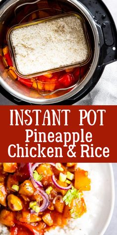 No need to wait for a take out delivery with this Instant Pot Pineapple Chicken and Rice. A quick and easy recipe with all the best flavors – even the rice steams in the Instant Pot at the same time the chicken cooks! | #instantpot #instantpotrecipes #pressurecooking #pressurecooker #chicken #chickenrecipes #onepot #onepotmeals #dinner #easydinner