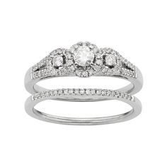 Diamond Halo Engagement Ring Set in 10k White Gold (1/2 Carat T.W.), Women's, Size: 5.50