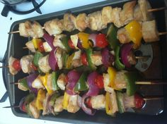 Healthy Fish Kabobs! Just BBQ'ed 'em   216 cals, 25g protein, 6g carbs each!