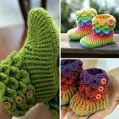 Botinhas para bebê em croché, ponto crocodilo ♥