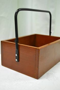 "Vintage Wooden Caddy with Black Wrought Iron Handle - Great for Storing Utensils or Napkins! - 9"" x 6.5"" x 8"" H"