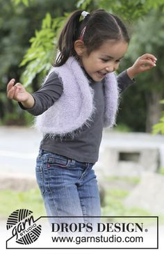"""Small knitted DROPS bolero vest in """"Symphony"""". Size 3 - 12 years. ~ DROPS Design"""