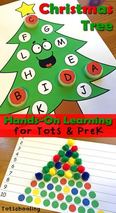 Christmas Tree Learning Activities.  These FREE printable activities are designed for early learners to practice math and literacy skills such as counting, number recognition, number quantity, shapes, alphabet recognition, letter cases, visual discrimination and more!  Download these great activities at:  http://www.totschooling.net/2014/12/christmas-tree-learning-activities-toddlers-preschoolers.html