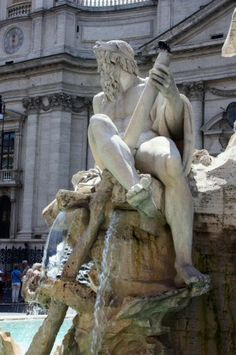 Gian Lorenzo Bernini. Estatua de la Fuente de los Cuatro Rios en la Plaza Navona de Roma