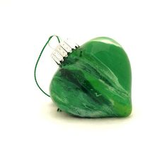 Kelly Green Glass Heart Ornament Hand Painted on by creationsbyjdb, $15.00 #glassheart #christmasornament #handmadechristmas