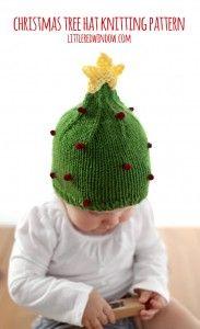 Cute Christmas Tree Hat Free Knitting Pattern! | littleredwindow.com