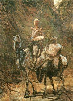 Honoré Daumier - Don Quixote and Sancho Panza. Between 1866 and 1868