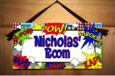 Super Hero Boys Bedroom DOOR SIGN