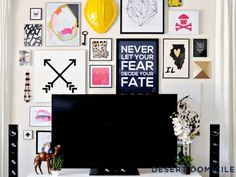 Decorate Your TV Wall - Home Decorating Ideas - Good Housekeeping:  I can't decide if this is awesome or too visually cluttered.