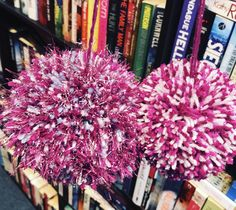 Pink, purple and blue sparkles Pom Pom decorations available at @pompompalacedecor on Facebook 💜💗💙