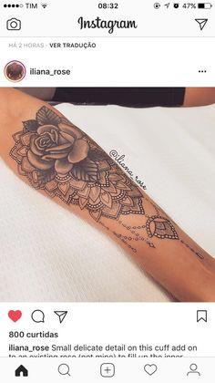 Tatto - Land of Tattoos Mandala Wrist Tattoo, Forearm Flower Tattoo, Forearm Sleeve Tattoos, Rose Tattoos For Women, Sleeve Tattoos For Women, Tattoos For Guys, Girly Tattoos, Trendy Tattoos, Small Tattoos