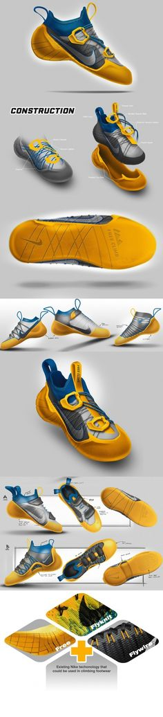 Designer Jim Tirone cleverly uses Nike's existing technology feasibility to create a shoe for vertical rock climbing/trekking, a sporting area never explored by the super-company. Great Visual Appeal + Great Product Placement = Win! #Fashion #Shoe #Nike #Design #Sport #Cool #productdesign #Yankodesign