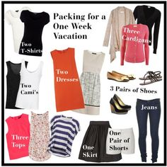 How to pack for a week. This is kind of the list of what I want in a capsule wardrobe, only substitute a pair of slacks for the shorts.