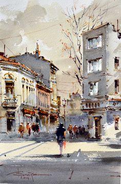 Corneliu Dragan-Targoviste | urban landscape watercolour