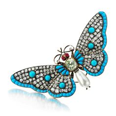 An Antique Multi-gem and Diamond Butterfly Brooch, 19th Century