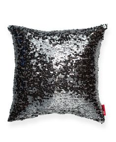 Blue Drop Sequin Square Throw Pillow