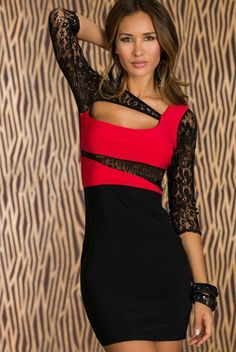 Spliced (Black/Red) $26.99 / Unbalanced 3/4 Lace Sleeve. A Bodycon Dress in Black White with a bare alluring style. Whether you're looking to make a scene at the club or be envied by friends , this bodycon dress offers chic, seductive style while showcasing all of your best assets.